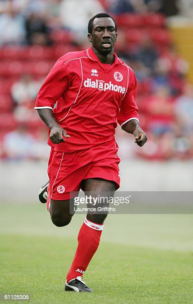 Jimmy Floyd Hasselbaink of Middlesbrough in action during the Pre Season Friendly match between Rotherham United and Middlesbrough at Millmoor on...