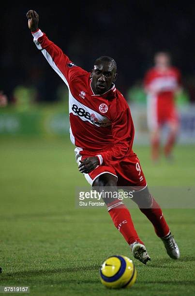 Jimmy Floyd Hasselbaink of Middlesbrough runs with the ball during the UEFA Cup semi final first leg between Steaua Bucharest and Middlesbrough at...