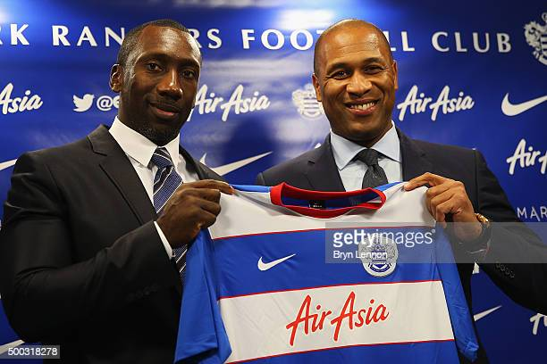 Jimmy Floyd Hasselbaink poses with Director of Football Les Ferdinand as he is announced as the new Queens Park Rangers Manager during a Press...