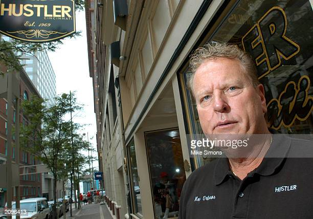 Jimmy Flynt, owner of Hustler Cincinnati, stands outside the store June 19, 2003 in Cincinnati, Ohio. The Hamilton County Sheriff's office raided the...