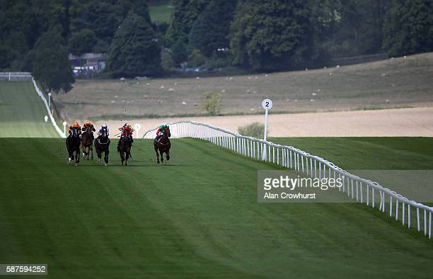 Jimmy Fortune riding Shipping Forcast win The PTL Maiden Stakes at Chepstow racecourse on August 09 2016 in Chepstow Wales