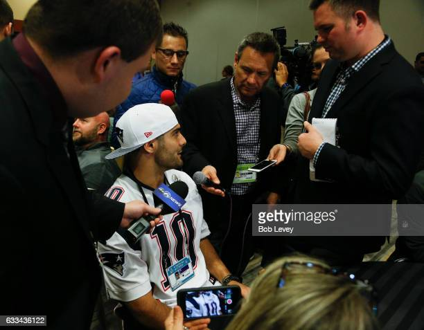 Jimmy Garoppolo of the New England Patriots answers questions during Super Bowl LI media availability at the JW Marriott on February 1 2017 in...