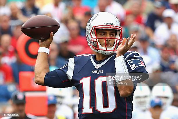 Jimmy Garoppolo of the New England Patriots throws a pass during the first quarter against the Miami Dolphins at Gillette Stadium on September 18...