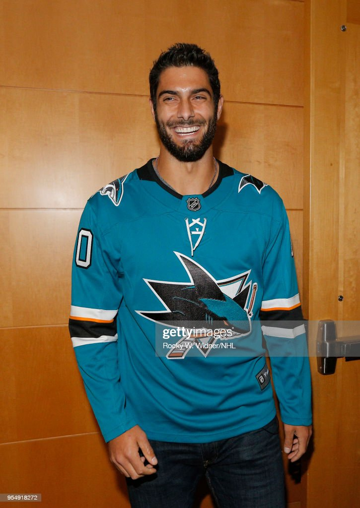 Jimmy Garoppolo of the San Francisco 49ers attends the game between the Vegas Golden Knights and the San Jose Sharks in Game Three of the Western Conference Second Round during the 2018 NHL Stanley Cup Playoffs at SAP Center on April 30, 2018 in San Jose, California. (Photo by Rocky W. Widner/NHL/Getty Images) Jimmy Garoppolo