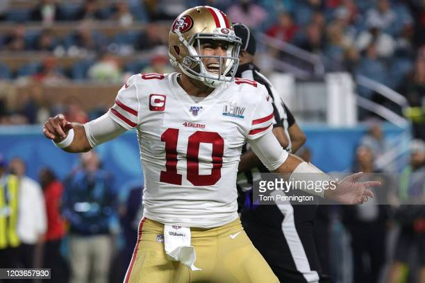 Jimmy Garoppolo of the San Francisco 49ers celebrates after a touchdown against the Kansas City Chiefs during the third quarter in Super Bowl LIV at...