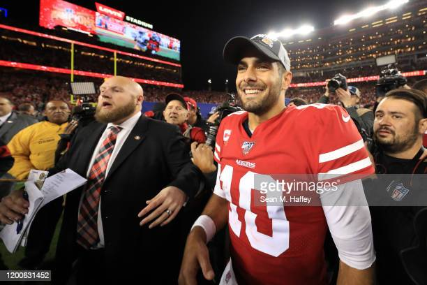 Jimmy Garoppolo of the San Francisco 49ers celebrates after winning the NFC Championship game against the Green Bay Packers at Levi's Stadium on...