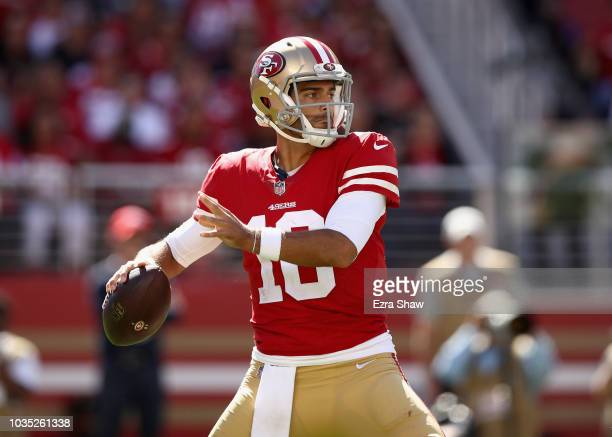 Jimmy Garoppolo of the San Francisco 49ers in action against the Detroit Lions at Levi's Stadium on September 16 2018 in Santa Clara California