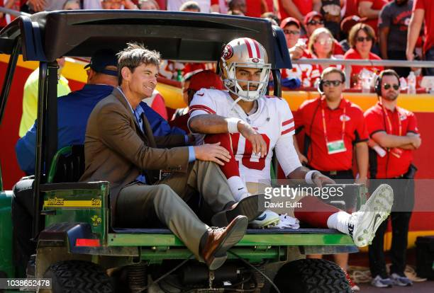Jimmy Garoppolo of the San Francisco 49ers is carted off the field after an injury during the fourth quarter of the game against the Kansas City...