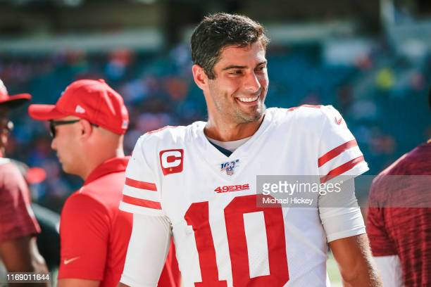 Jimmy Garoppolo of the San Francisco 49ers is seen during the game against the Cincinnati Bengals at Paul Brown Stadium on September 15, 2019 in...