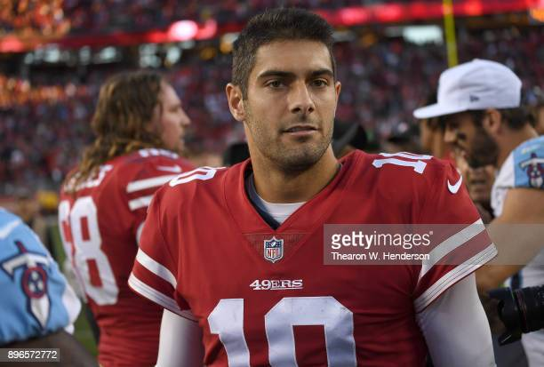 Jimmy Garoppolo of the San Francisco 49ers looks on after they defeated the Tennessee Titans 2523 in an NFL football game at Levi's Stadium on...