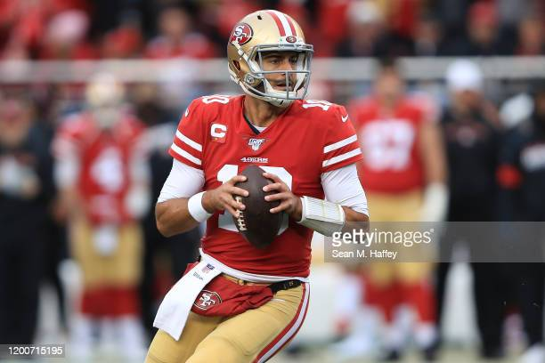 Jimmy Garoppolo of the San Francisco 49ers looks to pass against the Green Bay Packers during the NFC Championship game at Levi's Stadium on January...