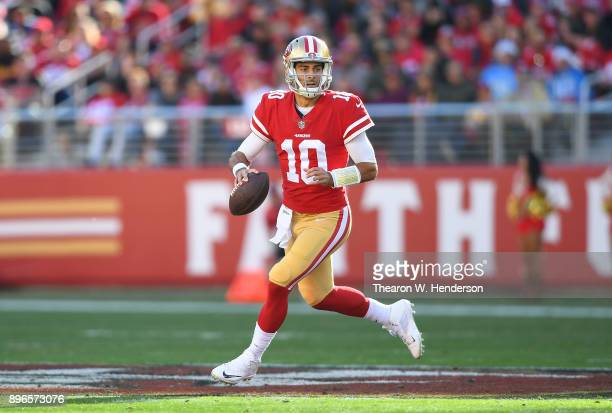 Jimmy Garoppolo of the San Francisco 49ers looks to pass against the Tennessee Titans during their NFL football game at Levi's Stadium on December 17...