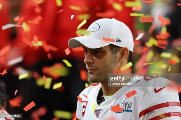 Jimmy Garoppolo of the San Francisco 49ers reacts after losing to the Kansas City Chiefs 31-20 in Super Bowl LIV at Hard Rock Stadium on February 02,...