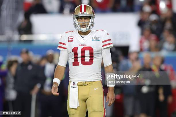 Jimmy Garoppolo of the San Francisco 49ers reacts against the Kansas City Chiefs during the fourth quarter in Super Bowl LIV at Hard Rock Stadium on...