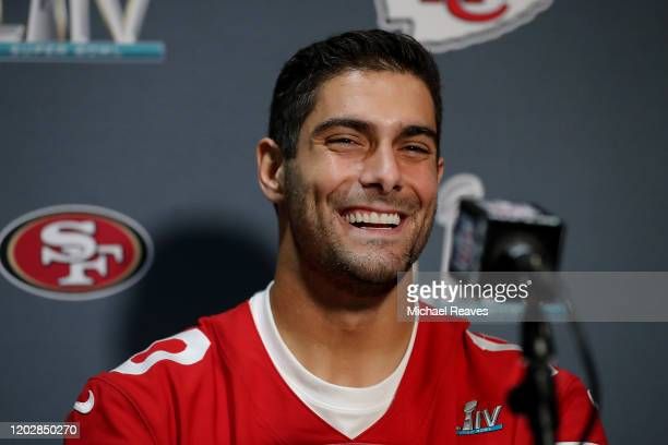 Jimmy Garoppolo of the San Francisco 49ers speaks to the media during the San Francisco 49ers media availability prior to Super Bowl LIV at the James...