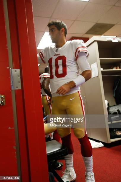 Jimmy Garoppolo of the San Francisco 49ers stands in the locker room prior to the game against the Los Angeles Rams at Los Angeles Memorial Coliseum...
