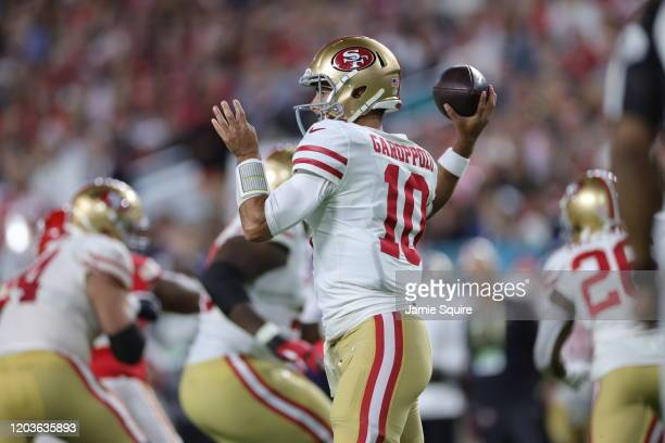 Jimmy Garoppolo of the San Francisco 49ers throws a pass against the Kansas City Chiefs during the first quarter in Super Bowl LIV at Hard Rock...