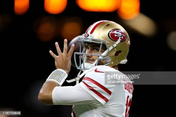 Jimmy Garoppolo of the San Francisco 49ers warms up prior to the game against the New Orleans Saints at Mercedes Benz Superdome on December 08 2019...