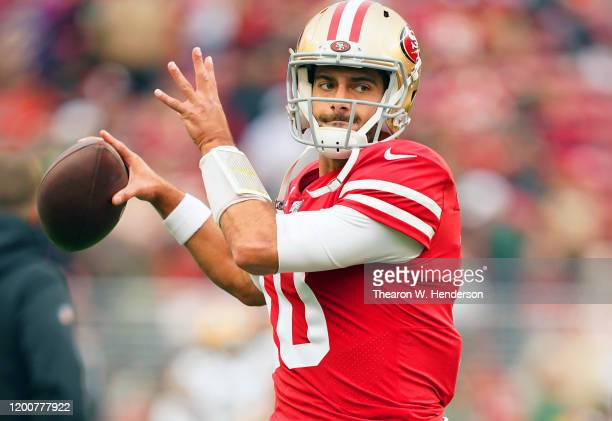 Jimmy Garoppolo of the San Francisco 49ers warms up prior to their game against the Green Bay Packers in the NFC Championship game at Levi's Stadium...