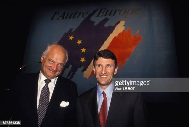 Jimmy Goldsmith et Philippe De Villiers candidats aux elections europeennes pour le mouvement L'Autre Europe en avril 1994 en France