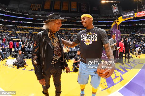 Jimmy Goldstein and Isaiah Thomas of the Los Angeles Lakers talk during the game against the Orlando Magic at STAPLES Center on March 7 2017 in Los...