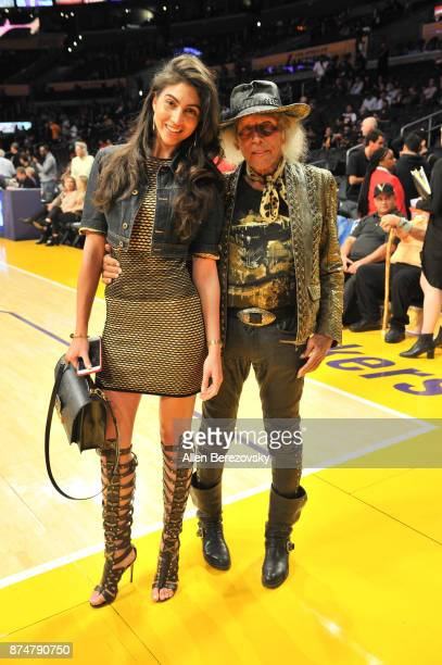 Jimmy Goldstein and model Simone Aptekman attend a basketball game between the Los Angeles Lakers and the Philadelphia 76ers at Staples Center on...