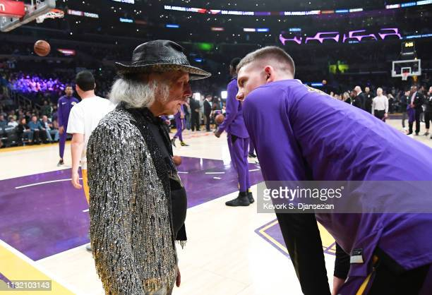 Jimmy Goldstein speaks with Moritz Wagner of the Los Angeles Lakers as he attends a basketball game between the Los Angeles Lakers and Brooklyn Nets...