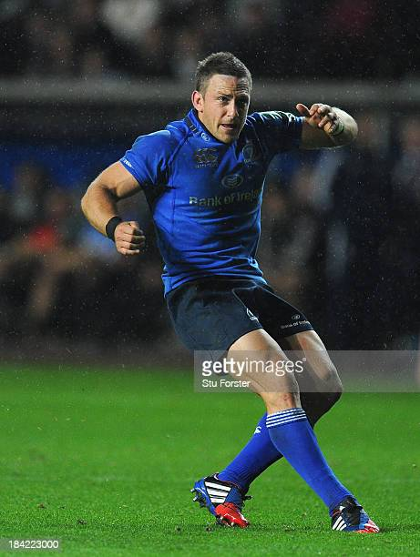 Jimmy Gopperth of Leinster kicks a penalty during the Heineken Cup Pool1 game between Ospreys and Leinster at Liberty Stadium on October 12 2013 in...