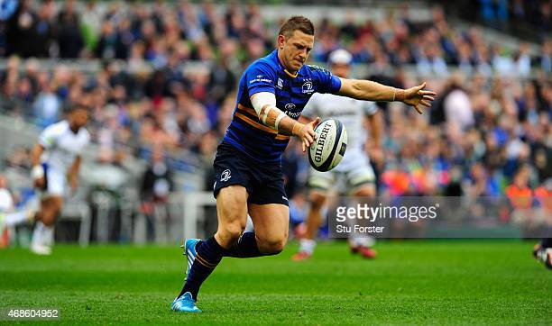 Jimmy Gopperth of Leinster starts an attack during the European Rugby Champions Cup Quarter Final match between Leinster Rugby and Bath Rugby at...