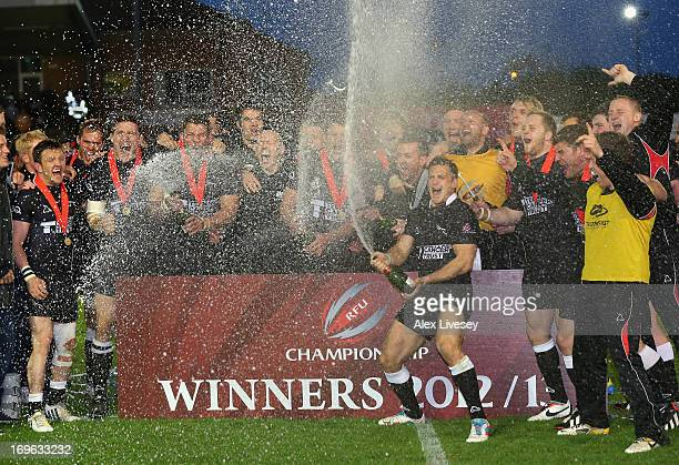 Jimmy Gopperth of Newcastle Falcons leads the celebrations as Newcastle Falcons lift the Championship trophy after victory over Bedford Blues in the...