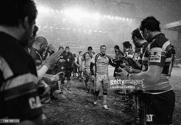 Jimmy Gopperth of Newcastle leads of his team applauded by the victorious Leicester Tigers during the LV Cup round four match between Leicester Tiger...