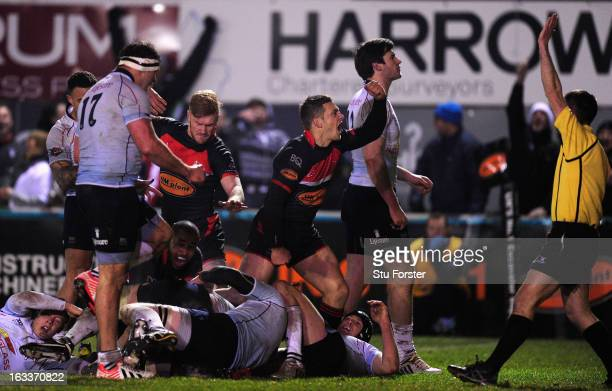 Jimmy Gopperth of the Falcons celebrates the winning Falcons try during the RFU Championship match between Newcastle Falcons and Bedford Blues at...