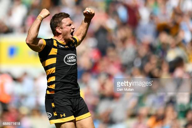 Jimmy Gopperth of Wasps celebrates scoring his sides first try during the Aviva Premiership Final between Wasps and Exeter Chiefs at Twickenham...