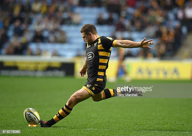 Jimmy Gopperth of Wasps kicks a conversion during the Aviva Premiership match between Wasps and Newcastle Falcons at The Ricoh Arena on October 30...