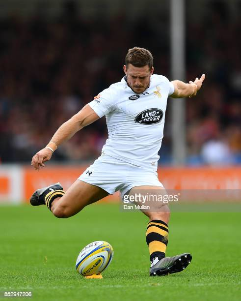 Jimmy Gopperth of Wasps kicks a penalty during the Aviva Premiership match between Exeter Chiefs and Wasps at Sandy Park on September 24 2017 in...