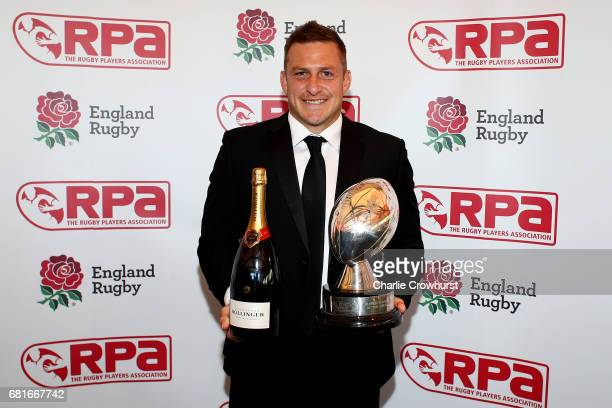 Jimmy Gopperth poses with his RPA Players' Player of the year award in association with Towergate Insurence during the RPA Players' Awards 2017 at...