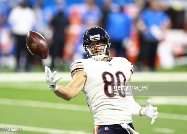 Jimmy Graham of the Chicago Bears attempts to make a catch in the first quarter of the game against the Detroit Lions at Ford Field on September 13...