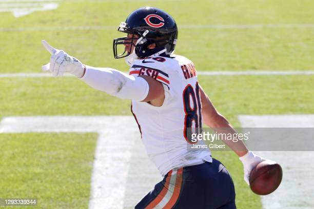 Jimmy Graham of the Chicago Bears celebrates after scoring a touchdown against the Jacksonville Jaguars in the first quarter at TIAA Bank Field on...