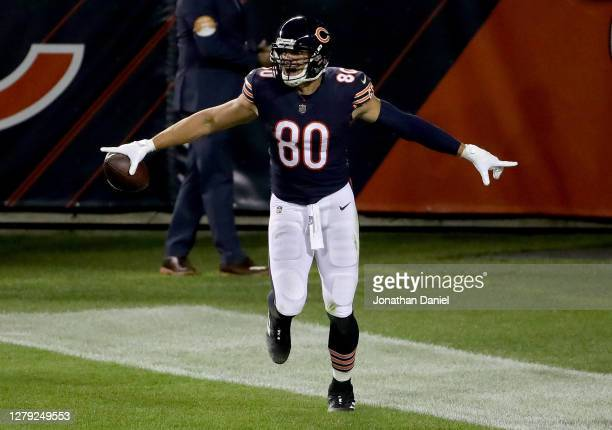 Jimmy Graham of the Chicago Bears celebrates after scoring a touchdown in the second quarter against the Tampa Bay Buccaneers at Soldier Field on...