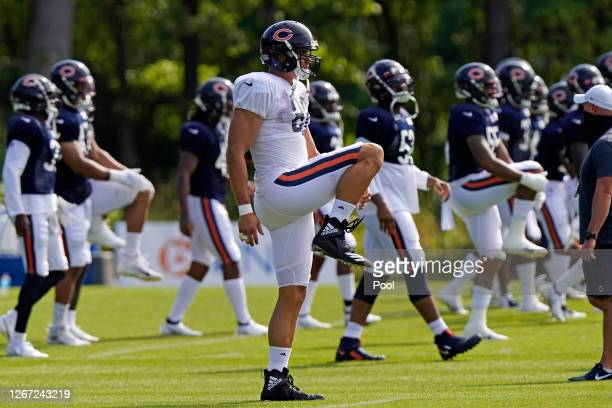 Jimmy Graham of the Chicago Bears stretches during training camp at Halas Hall on August 17, 2020 in Lake Forest, Illinois.