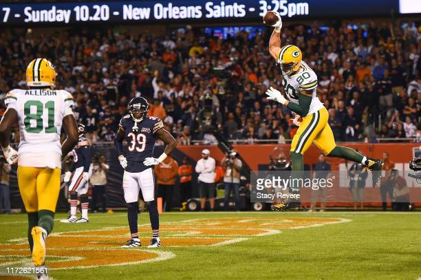 Jimmy Graham of the Green Bay Packers celebrates a touchdown against the Chicago Bears during the second quarter at Soldier Field on September 05...