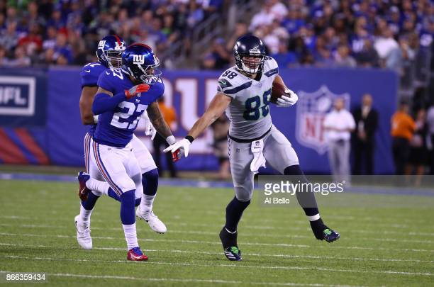 Jimmy Graham of the Seattle Seahawks in action against Darian Thompson of the New York Giants during their game at MetLife Stadium on October 22 2017...