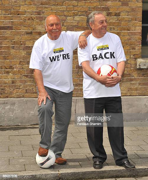Jimmy Greaves and Ian St John from Saint Greavsie promote their new TV show as part of Setanta's FA Cup Final coverage at Frank PR on May 26 2009 in...