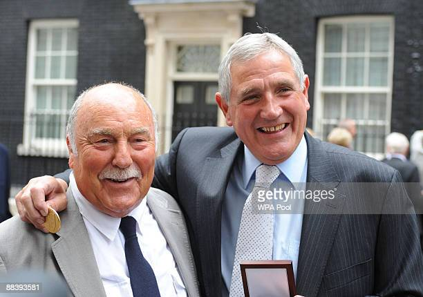 Jimmy Greaves and Norman Hunter with their medals presented by Prime Minister Gordon Brown for representing their country in the 1966 World Cup on...