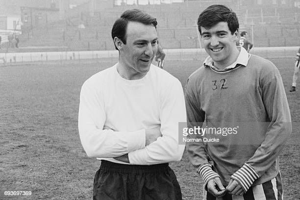 Jimmy Greaves of the England football team with Terry Venables, UK, 8th April 1965.
