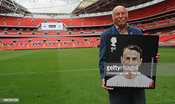 Jimmy Greaves poses with his stamp during the Royal Mail Stamp Launch at Wembley Stadium on May 8, 2013 in London, England.