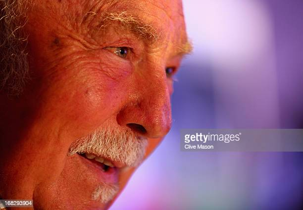 Jimmy Greaves talks to the media during the Football Association's Royal Mail Stamp Launch at Wembley Stadium on May 8 2013 in London England