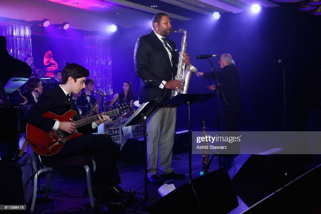 Jimmy Greene performs with GRAMMY Camp®-Jazz Session students at the 60th Annual GRAMMY Awards Celebration at Marriott Marquis Hotel on January 28, 2018 in New York City.