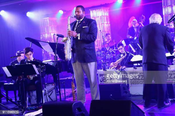 Jimmy Greene performs with GRAMMY Camp®Jazz Session students at the 60th Annual GRAMMY Awards Celebration at Marriott Marquis Hotel on January 28...