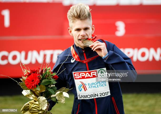 Jimmy Gressier of France celebrates his Gold Medal during the U23 Men's award ceremony during the SPAR European Cross Country Championships on...